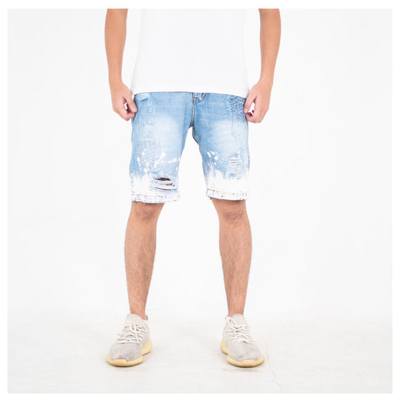 A1 DISTRESSED SHORT MID BLUE SPLASH
