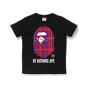 CHECK CAMO BY BATHING TEE LADIES BLACK RED