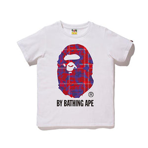 CHECK CAMO BY BATHING TEE LADIES WHITE RED
