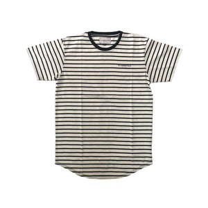 CHEST LOGO TEE PINSTRIPE WHITE/NAVY