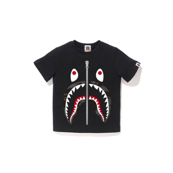 COLOR CAMO SHARK TEE KIDS BLACK GRAY