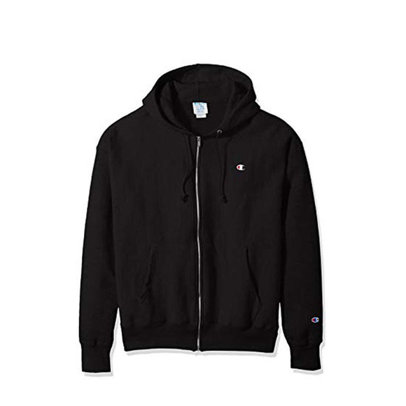 CHAMPION FULL ZIP HOODED SWEATSHIRT BLACK