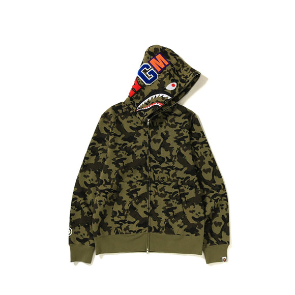 DESERT CAMO SHARK FULL ZIP HOODIE GREEN