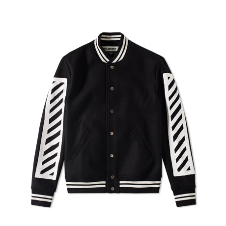 BRUSHED DIAGONALS VARSITY JACKET BLACK