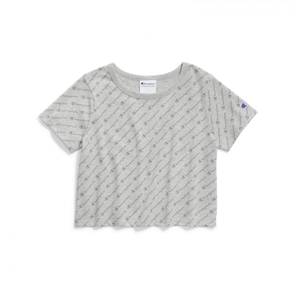 CHAMPION HERITAGE DIAGONAL SCRIPTS GRAY TEE WOMENS