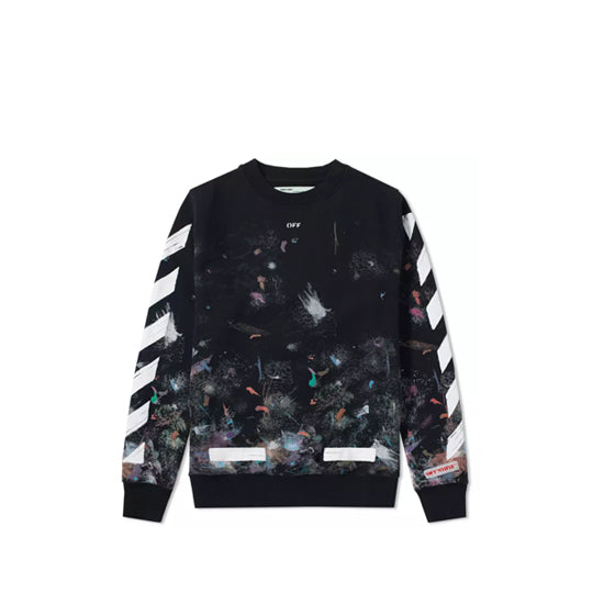 GALAXY BRUSHED CREWNECK ALL-OVER WHITE