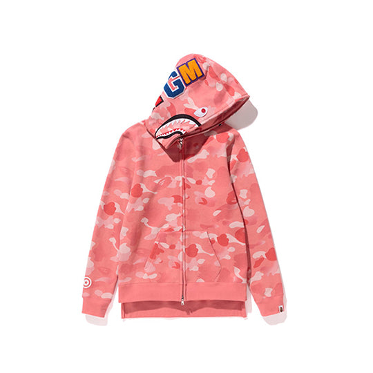 GRADATION CAMO SHARK LONG ZIP HOODIE LADIES PINK