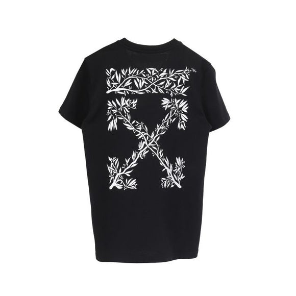 HANNA LEAVES CASUAL TEE BLACK WHITE