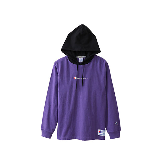 LONG-SLEEVED HOODED T-SHIRT 18FW PURPLE BLACK