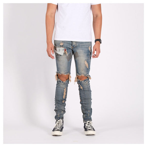 M1 DENIM PANTS CREAM BLUE