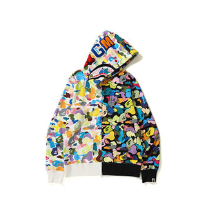 MULTI CAMO HALF SHARK FULL ZIP HOODIE MENS BLACK WHITE