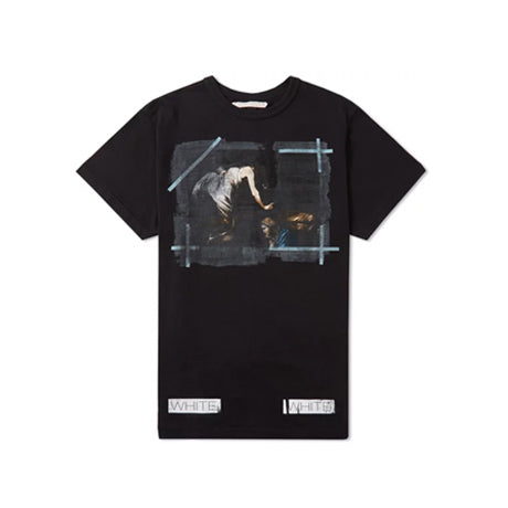 OFF-WHITE CARAVAGGIO DISTRESSED TEE BLACK