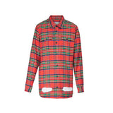 OFFWHITE DIAG SPRAY CHECK SHIRT RED ALL OVER