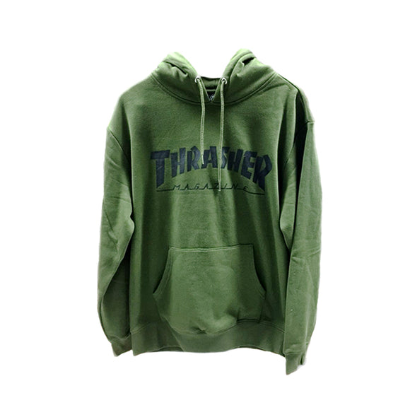 THRASHER SKATE MAG CLASSIC PULLOVER OLIVE GREEN