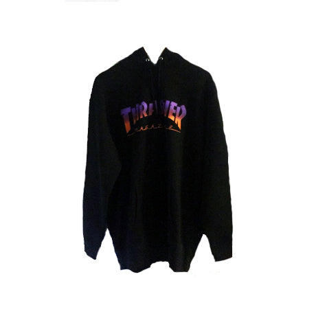 THRASHER BLACK PURPLE HOMETOWN PULLOVER HOODIE