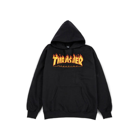 THRASHER FLAME PULLOVER BLACK