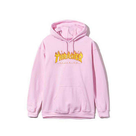 THRASHER FLAME PULLOVER PINK