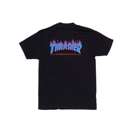 THRASHER FLAME T-SHIRT BLACK BLUE