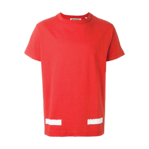 BRUSHED DIAGONALS S/S7 TEE RED WHITE