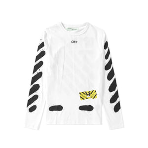 DIAGONAL SPRAY L/S TEE WHITE
