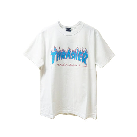 THRASHER FLAME T-SHIRT WHITE BLUE