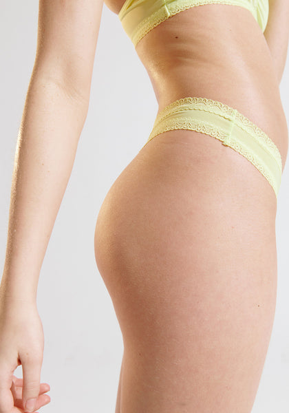 Blush Citron Lace Trim Thong