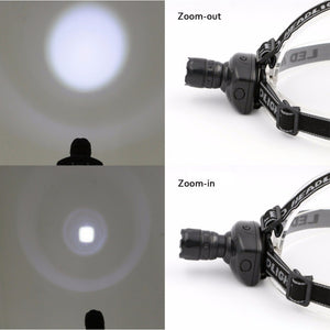 Portable 3 Mode LED Zoomable Headlamp