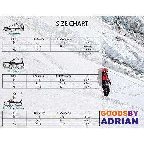 Traction Cleats Ice Snow Grips with 18 Spikes for Walking, Jogging, Climbing and Hiking- - GoodsByAdrian