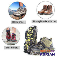 Load image into Gallery viewer, Traction Cleats Winter Snow Grips with 18 Spikes for Walking, Jogging, Climbing and Hiking- - GoodsByAdrian