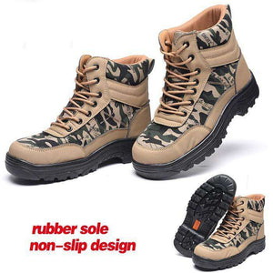 Men spring summer Steel Toe Caps Work Safety Shoes Anti-Smashing Puncture Proof Shoes Durable Breathable Protective Shoes- - GoodsByAdrian