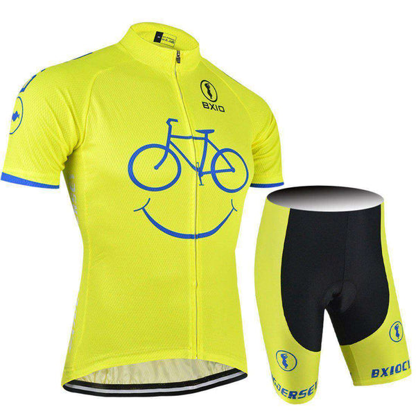 Cycling Jerseys Yellow Smile Mountain Bike Quick Breathable Dry Cycling Short Shirts and Sets- - GoodsByAdrian