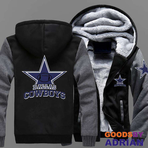 Dallas Cowboy Fleece Zipper Hoodie, Sweatshirts-Hoodie - GoodsByAdrian