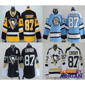 save off 49629 51bbb Sidney Crosby Jersey Men's Penguins #87 Black Yellow Blue White Stitched  Embroidery Hockey Jerseys