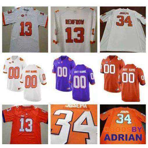 promo code 41489 4ed4e Clemson Tigers NCAA Football Tee Higgins Deon Cain Hunter Renfrow Ray-Ray  McCloud Stitched Jersey