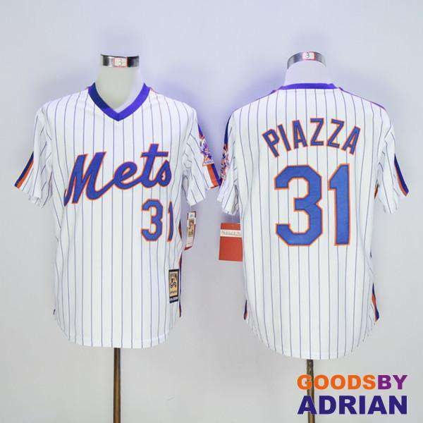 official photos 850a3 6d716 New York Mets Throwback Baseball Jersey 31 Mike Piazza 45 Pedro Martinez  Cooperstown 2016