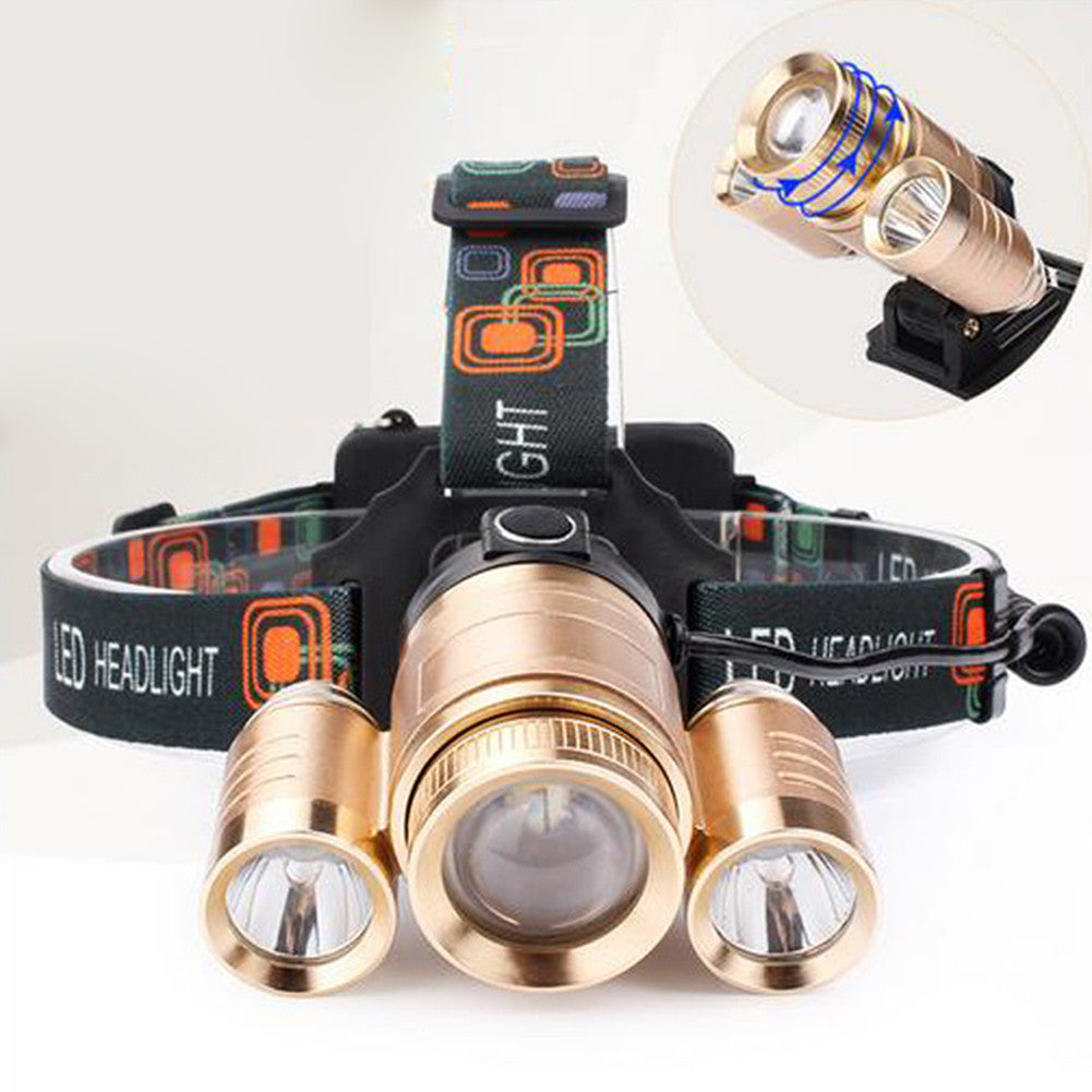 Superbright 3 LED Head Lamp Waterproof Adjustable Charging Headlamp
