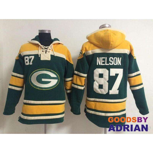Mens Rugby Fleece Hoodie Aaron Rodgers Randall Cobb Eddie Lacy Clay Matthews Jordy Nelson L