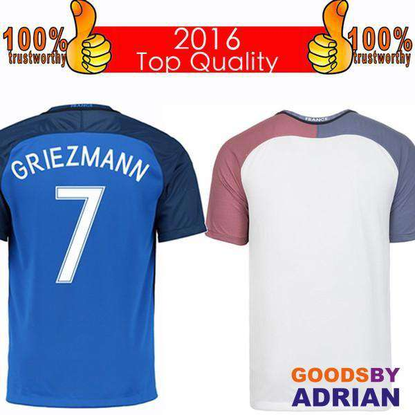 Top 2016 French Soccer Jersey 2016 French Home Blue Away White Football Shirt Benzema Griezmann Giroud Jerseys Thai Quality Free Shipping- - GoodsByAdrian