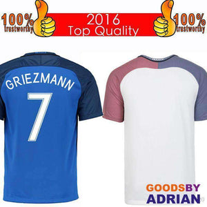 reputable site 574cc ecc88 Top 2016 French Soccer Jersey 2016 French Home Blue Away White Football  Shirt Benzema Griezmann Giroud Jerseys Thai Quality Free Shipping