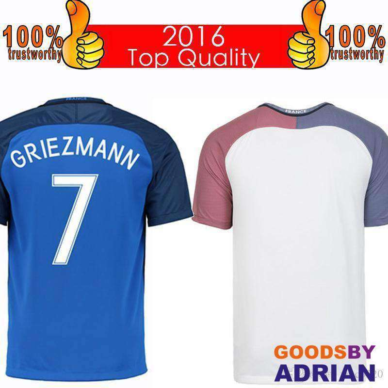 reputable site eaa54 e3ef9 Top 2016 French Soccer Jersey 2016 French Home Blue Away White Football  Shirt Benzema Griezmann Giroud Jerseys Thai Quality Free Shipping