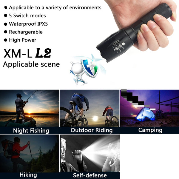 Tactical LED Flashlight E17 CREE XM-L2 - Elliott's Outdoor Store