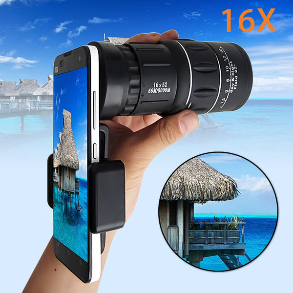 16x52 Zoom Mobile Phone Universal Telescope with Smartphone Adapter