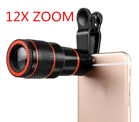 Universal 8X or 12X Zoom Mobile Phone Telescope Lens Clip