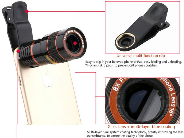 Universal 8X or 12X Zoom Mobile Phone Telescope Lens Clip - Elliott's Outdoor Store