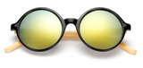 Bamboo Sunglasses - Black Frame Gold Lens