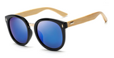 Bamboo Sunglasses - Black Frame Blue Lens