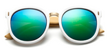 Bamboo Sunglasses - White Frame Green Lens