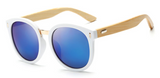 Bamboo Sunglasses - White Frame Blue Lens