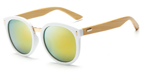 Bamboo Sunglasses - White Frame Gold Lens
