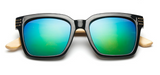 Bamboo Sunglasses - Black Frame Blue Green Lens